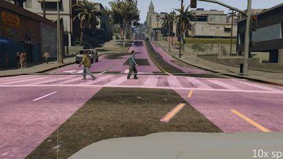 Captura de pantalla de una de las simulaciones utilizadas con el videojuego Grand Theft Auto V para el entrenamiento de IA en coches autónomos