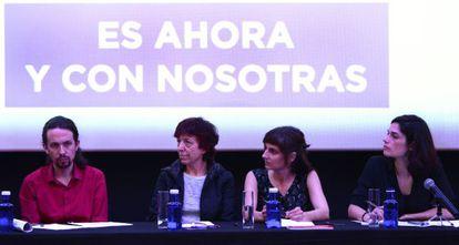 Pablo Iglesias en la presentación de un documento económico en Madrid.