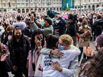 Concentración en repulsa por el asesinato de Samuel, este lunes en A Coruña.