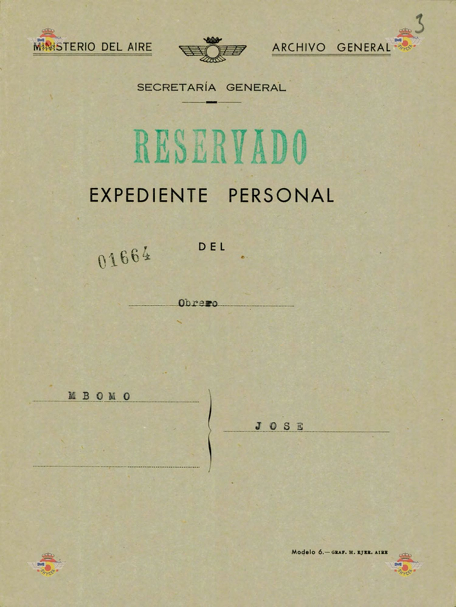 Portada del expediente de información sobre José Mbomo iniciado en 1956 por la dictadura.