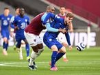 Soccer Football - Premier League - West Ham United v Chelsea - London Stadium, London, Britain - April 24, 2021 Chelsea's Timo Werner in action with West Ham United's Angelo Ogbonna Pool via REUTERS/Andy Rain EDITORIAL USE ONLY. No use with unauthorized audio, video, data, fixture lists, club/league logos or 'live' services. Online in-match use limited to 75 images, no video emulation. No use in betting, games or single club /league/player publications.  Please contact your account representative for further details.