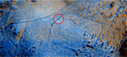 Laser image of one of the Roman camps of El Espinar.  In red, your front door.