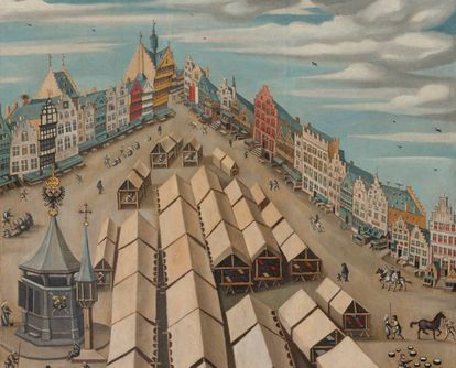 Detalle del mercado de las telas en 's-Hertongenbosch hacia 1530. La casa del Bosco es la séptima empezando por la derecha.