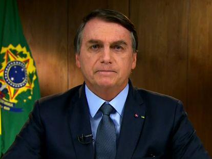 El presidente de Brasil, Jair Bolsonaro, habla en forma remota ante la Asamblea General de la ONU, el 22 de septiembre de 2020.