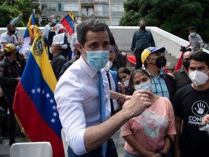Juan Guaidó, después de una conferencia de prensa en Caracas, el pasado 3 de febrero.