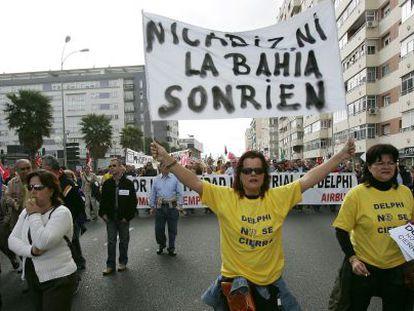 Trabajadores de Delphi durante una protesta en 2007.