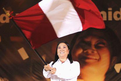Keiko Fujimori, durante el acto final de su campaña, en Lima.