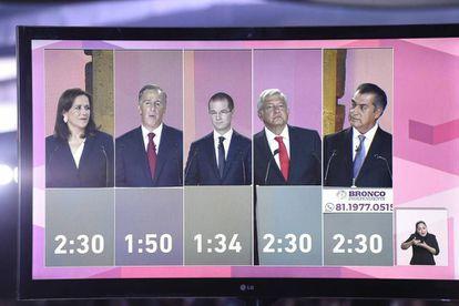 Los cinco candidatos presidenciales, durante el debate.