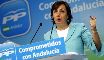 Ana Corredera, en la sede del PP andaluz.