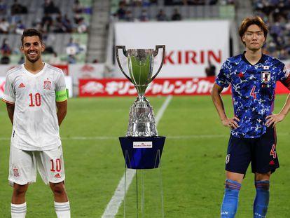 Dani Ceballos y Ko Itakura, antes del amistoso que España disputó con Japón el sábado pasado.