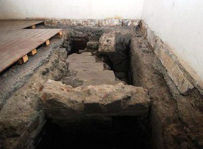 Imagen sin fechar de una escalera perteneciente a los restos de las Casas Nuevas de Moctezuma halladas bajo el Museo Nacional de las Tres Culturas en Ciudad de México