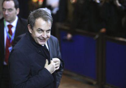 Zapatero, a su llegada a la última cumbre europea en Bélgica.