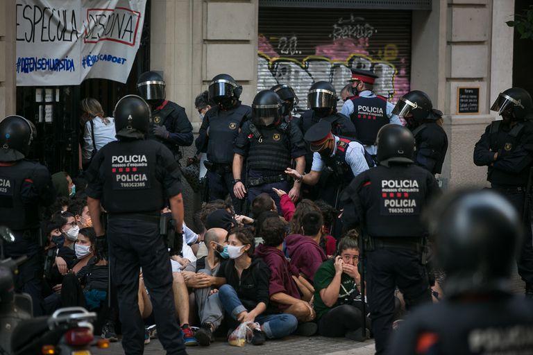 Protesta contra un desahucio en Barcelona, el pasado 22 de septiembre.