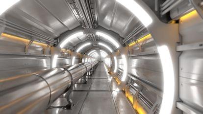 Túnel de uno de los aceleradores de partículas del CERN, el Colisionador Circular del Futuro (FCC).  Fotografía de CERN