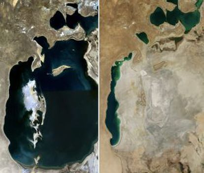 Una comparación del Mar de Aral en 1989 (izquierda) y 2014.