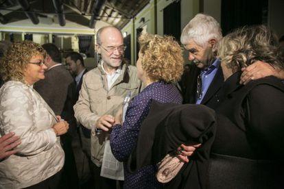 Maragall, junto a Geli (izquierda) y Castells, durante en el acto.