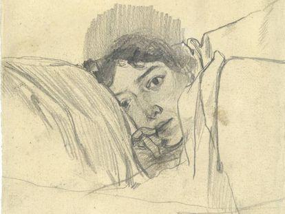 Clotilde, esposa de Sorolla, en el lecho, en un dibujo de 1888.