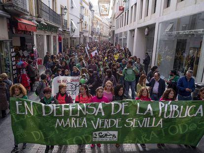 Manifestación a favor de la educación pública en Sevilla, el pasado diciembre.