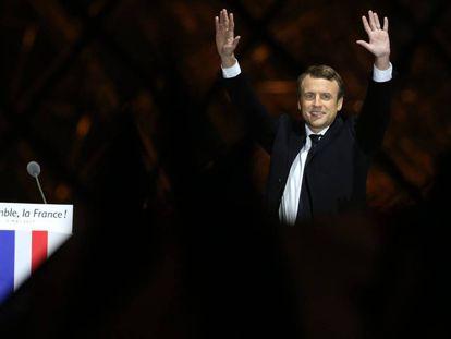 Emmanuel Macron durante la celebración de su victoria en las elecciones.