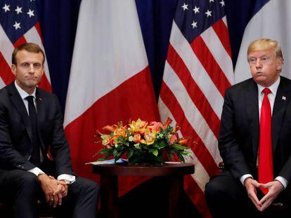 Donald Trump y Emmanuel Macron, este lunes en Nueva York.