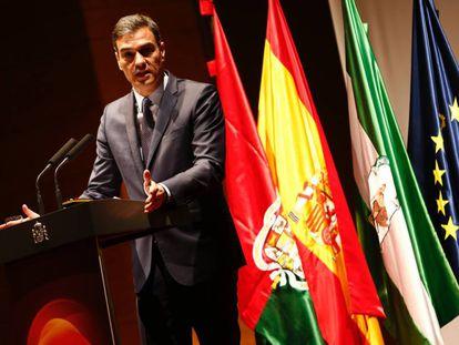 El presidente del Gobierno, Pedro Sánchez, en la presentación de la Estrategia Española de I+D+I en Inteligencia Artificial, este lunes.