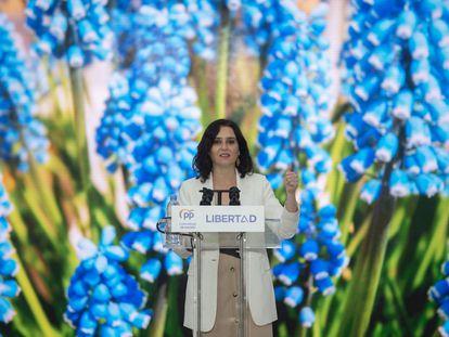 La presidenta de la Comunidad de Madrid y candidata a la reelección, Isabel Díaz Ayuso, durante un acto de campaña.