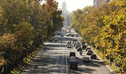 Paseo de la Castellana, el pasado 15 de noviembre, uno de los días con restricciones de tráfico.