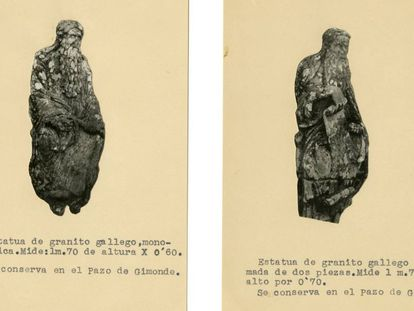 Imágenes de Jeremías/Isaac (a la izquierda) y de Ezequiel/Abraham (a la derecha), incluidas en el expediente conservado en el Museo Arqueológico Nacional, abierto en 1946, sobre la propuesta de venta de las cinco estatuas desmontadas del Pórtico de la Gloria.