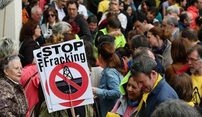 Manifestación contra el fracking en Medina de Pomar (Burgos).