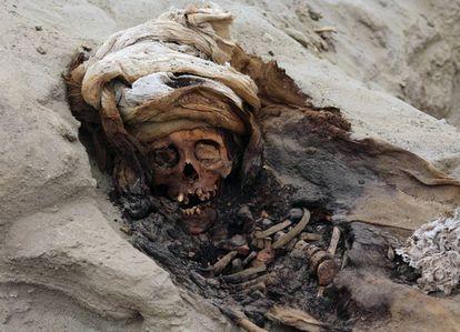 Uno de los restos de los 227 niños descubiertos en Huanchaco.