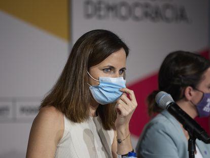 Ione Belarra, este jueves durante su intervención en la Universidad de Otoño de Podemos, en Rivas-Vaciamadrid (Madrid).