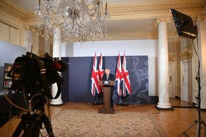 Boris Johnson, este jueves, en su discurso a la nación para anunciar el acuerdo.