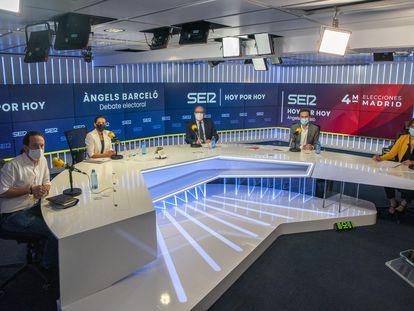 Los candidatos a la presidencia de la Comunidad de Madrid Pablo Iglesias, Rocío Monasterio, Ángel Gabilondo, Edmundo Bal y Mónica García, el viernes durante el debate de la Cadena SER.
