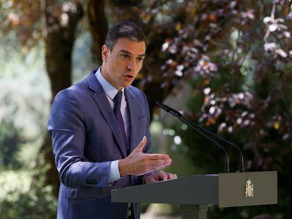 El presidente del Gobierno, Pedro Sánchez, durante una rueda de prensa en La Moncloa.