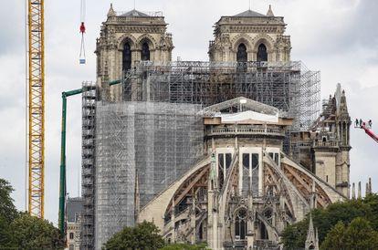 Trabajos en la catedral de Notre Dame en junio de 2020.