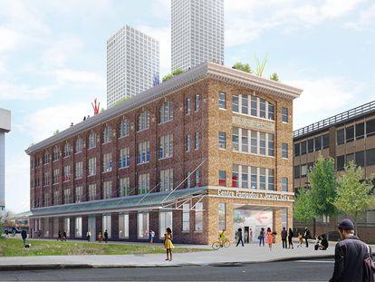 Una reproducción digital del nuevo Centro Pompidou x Jersey City, que el museo francés abrirá en esta ciudad de Nueva Jersey en 2024.