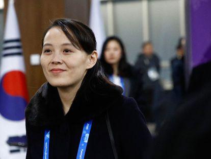 Kim Yo Jong, hermana del líder norcoreano Kim Jong-Un, durante la ceremonia de inauguración de los Juegos Olímpicos de Invierno en Pyeongchang, en febrero de 2018.