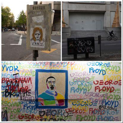 Algunas de las consignas de las protestas pintadas en las calles de Portland.