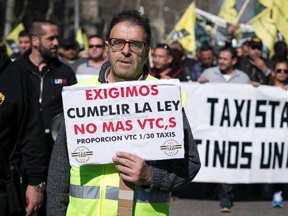 Manifestación de taxistas en Barcelona el pasado 16 de marzo.