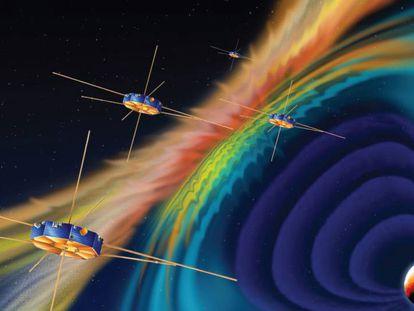 Recreación de cuatro satélites (Magnetospheric Multiscale) investigando efectos en el campo magnético de la tierra.