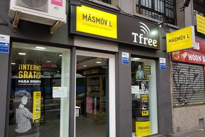 Una tienda distribuidora de MásMóvil en Madrid.