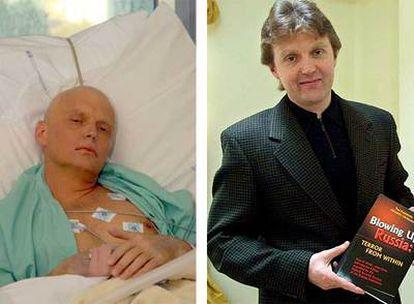El ex agente ruso Alexandr Litvinenko, ayer, en un hospital de Londres. A la derecha, con su libro, en mayo de 2002.