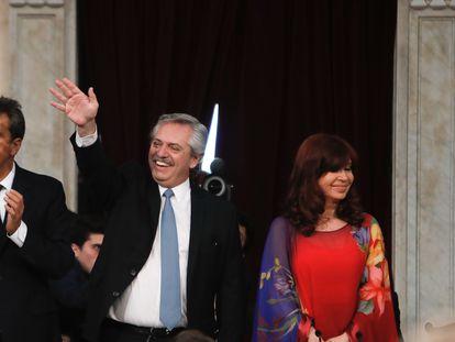 El presidente argentino, Alberto Fernández, y la vicepresidenta, Cristina Fernández, participan en la inauguración de las sesiones ordinarias en el Congreso, el 1 de marzo.