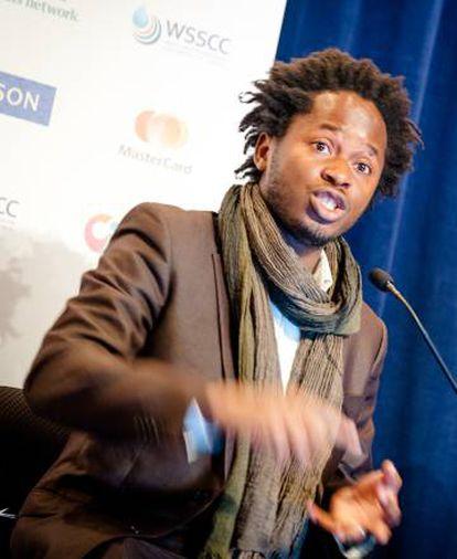 Beah participa en un debate sobre los retos para los jóvenes en un acto en la sede de la ONU en Nueva York en septiembre de 2015.