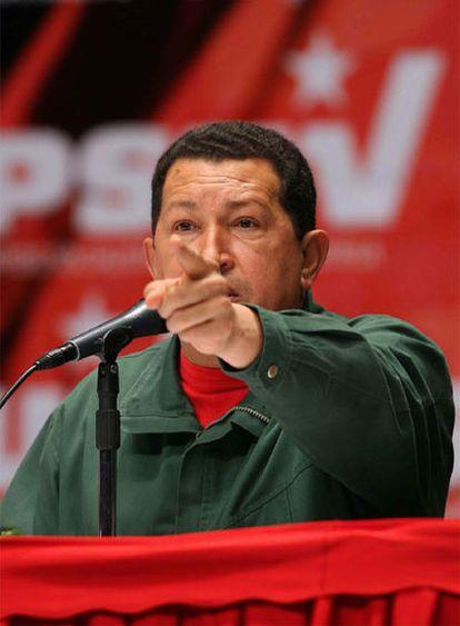 Hugo Chávez, el pasado día 31 de mayo durante un acto de su partido.