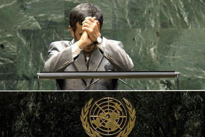 El presidente iraní, Mahmud Ahmadineyad, durante su intervención en Naciones Unidas.
