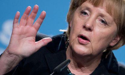Angela Merkel, durante un discurso en Stadthagen, en el norte del país.