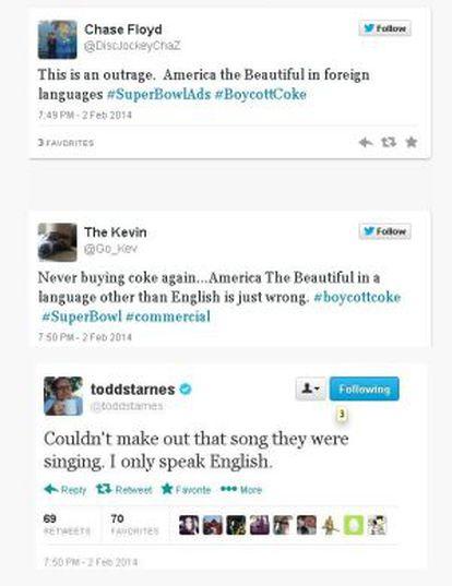 Tuits que critican el anuncio.