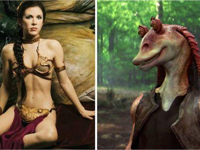 La princesa Leia con su ya legendario bikini y Jar Jar Binks, uno de los personajes más odiados de 'Star Wars'.