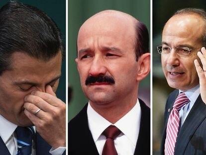 Tres expresidentes de México: Enrique Peña Nieto, Carlos Salinas y Felipe Calderón